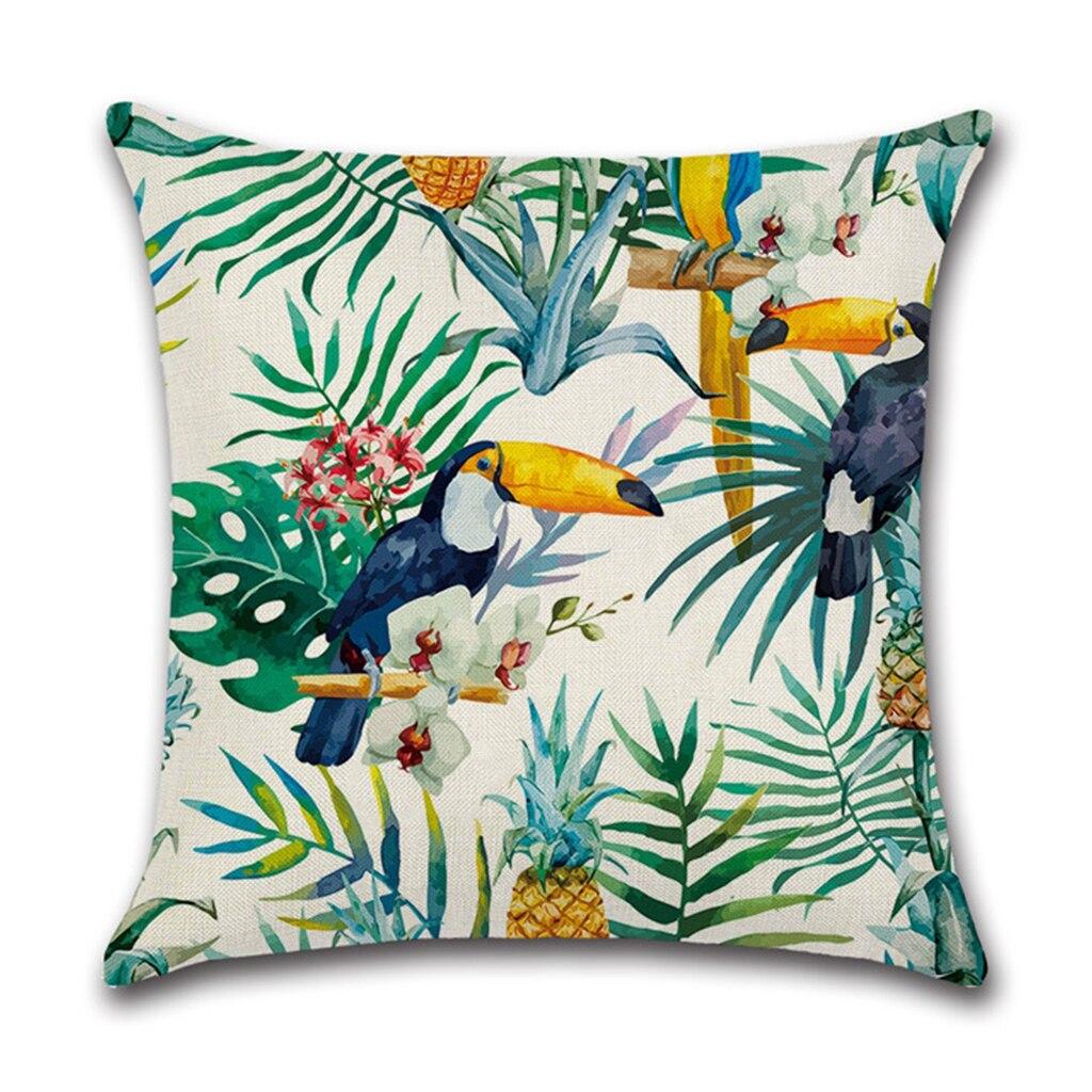 Jungle Tropical Leaves Flower Throw Pillow Case Cushion Cover Sofa Linen 45x45cm Drop Ship Support