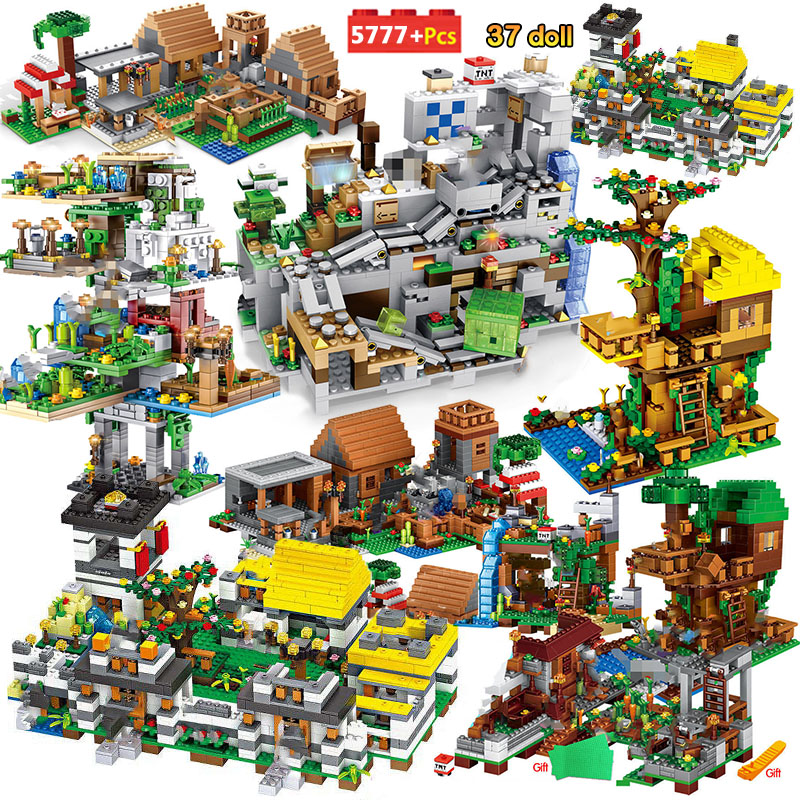 19 Style My World Building Blocks Compatible  Cave Mountain Village House Bricks Figures Toys For Children