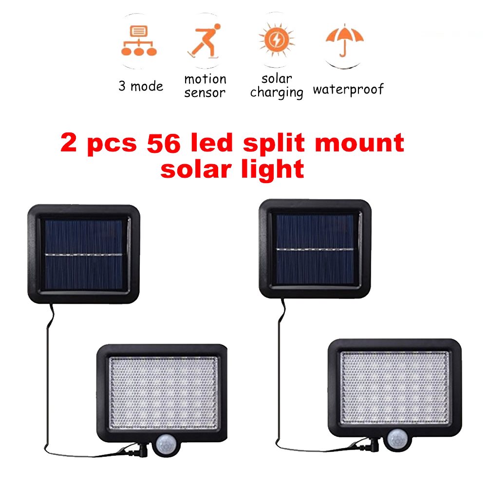 2/4pcs 100/56/30 LEDs Solar Powered Wall Light Infrared & Light Sensor Wireless Outdoor IP65 Waterproof Security Lighting For Do