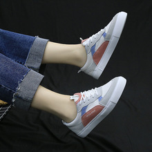 New Spring Summer White Shoes Women Flat Leather Canvas