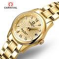 Карнавальные швейцарские автоматические механические Женские часы  роскошные брендовые модные очаровательные женские часы  золотые наруч...