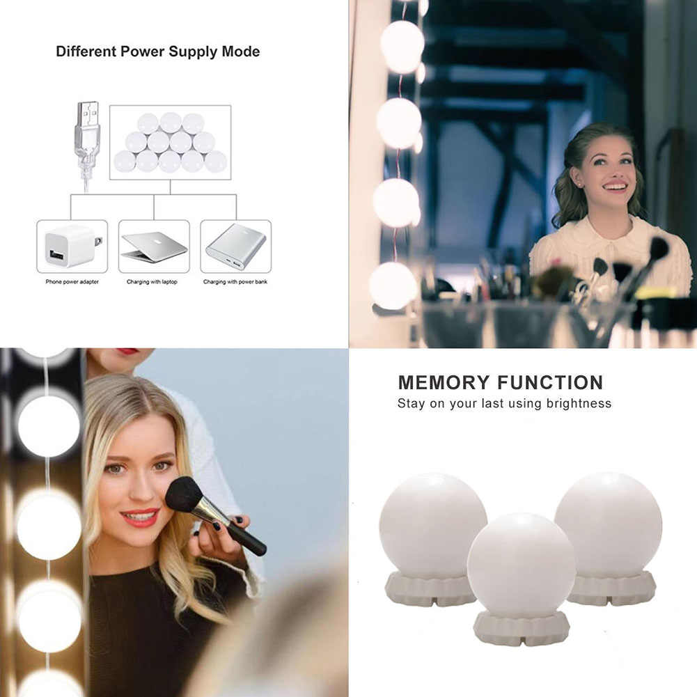 Makeup Mirror Vanity LED Light Bulbs Kit Cosmetic Lighted Make Up Mirrors Bulb Adjustable Three Light Color Light Bulbs