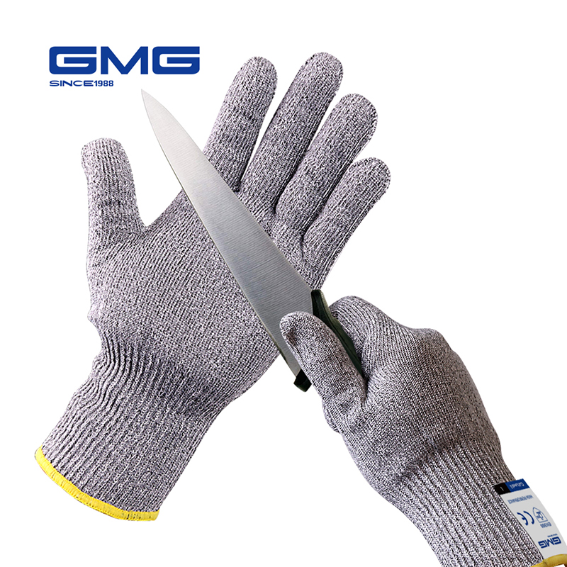 2019 Upgraded Thin Soft New GMG Grey HPPE With Steel CE Certificated Anti-cut Gloves Work Safety Cut Proof Gloves EN388 Anti Cut