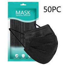 50 pçs descartável preto adulto máscara protetora gotas de poeira 3 camadas filtro earloop rosto não tecido máscara boca para homens