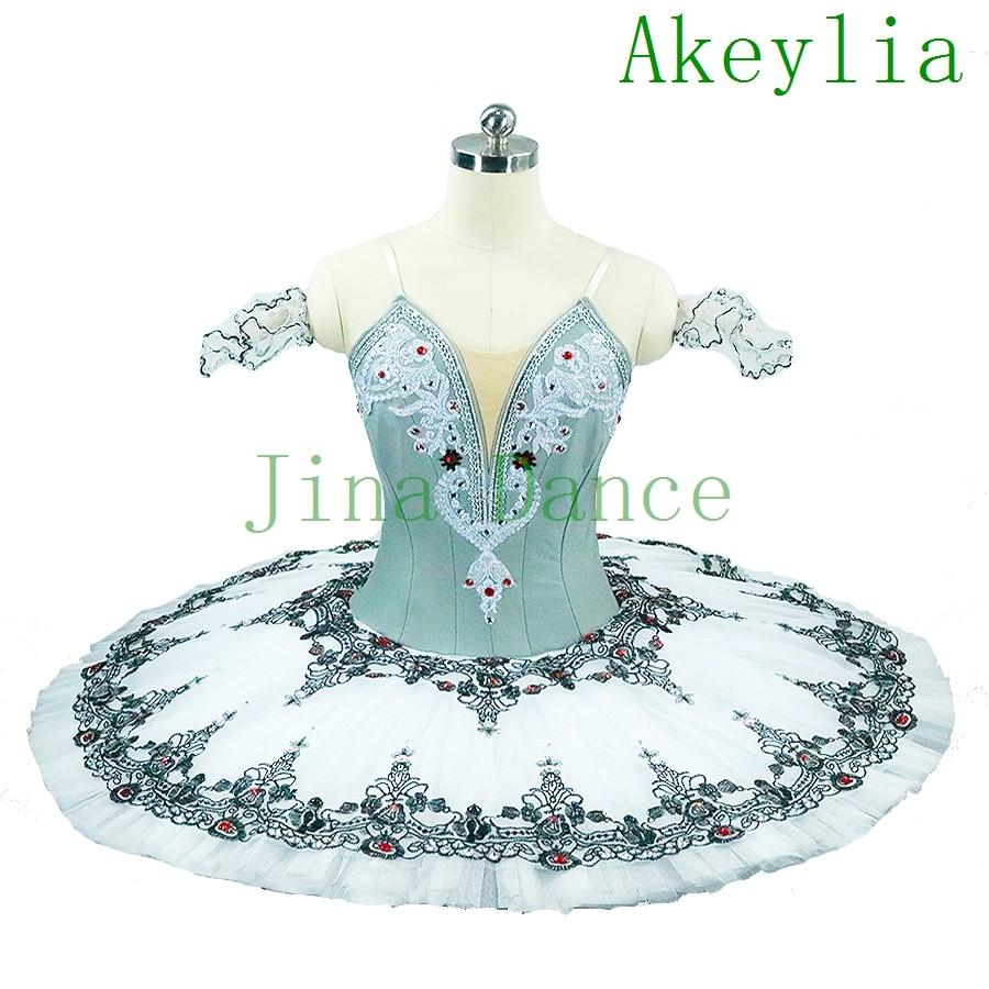 Green Gray Adult Professional Tutu Ballet Stage Dress For Girls Competition Platter Pancake Tutu Dress Classical Ballet Tutu