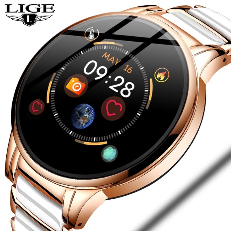 Lige novo relógio inteligente de luxo mulher freqüência cardíaca pressão arterial esporte multi-função para ios android pulseira cerâmica senhoras smartwatch