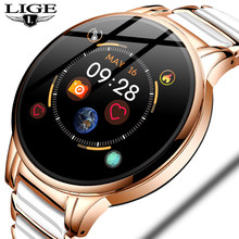 LIGE New Luxury Smart watch Women Heart Rate Blood Pressure Sport Multi-function For IOS Android Ceramic Strap Ladies Smartwatch