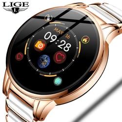 Luik Nieuwe Luxe Smart Horloge Vrouwen Hartslag Bloeddruk Sport Multi-Functie Voor Ios Android Keramische Band Dames smartwatch