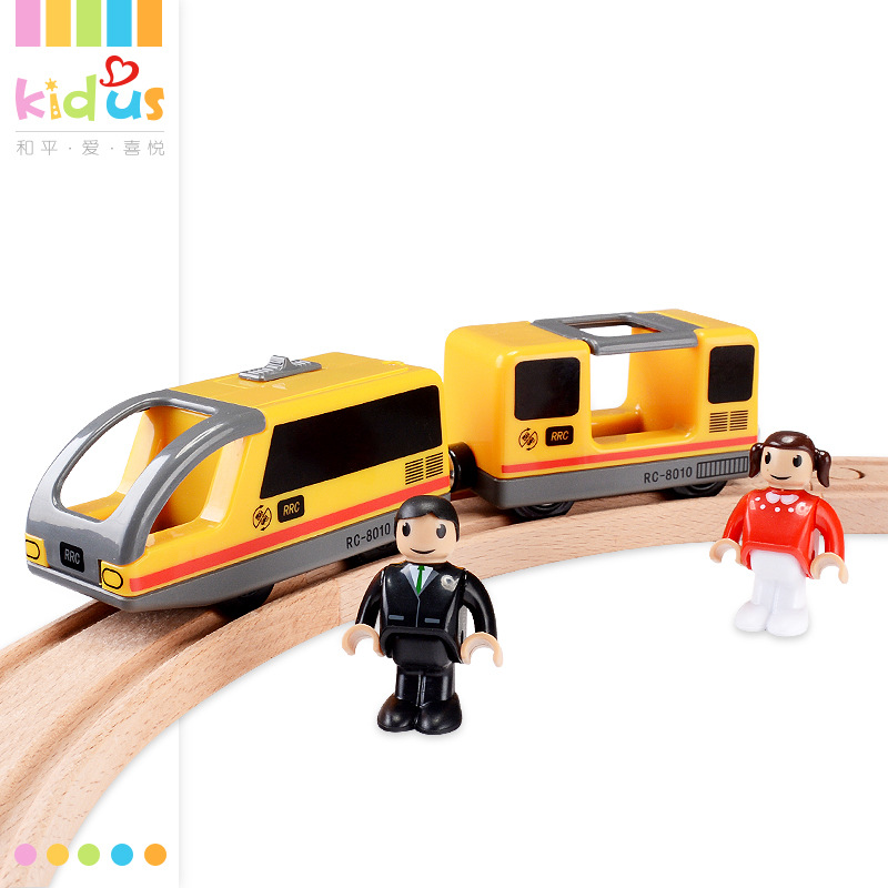 Kidus Public Train B Wood Camera Track Electric Train Set Wooden Building Blocks Camera Track Car Toy