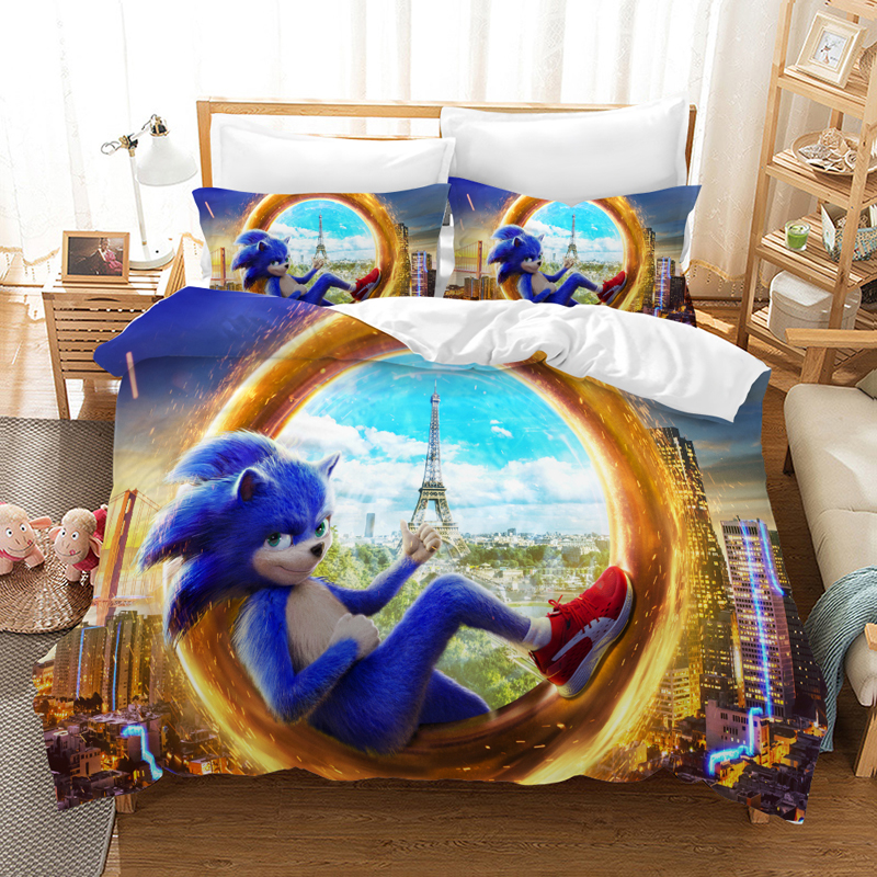 Sonic The Hedgehog Bedding Set Duvet Covers Pillowcases Sonic Kid Sonic Hedgehog Comforter Bedding Sets Bedclothes Bed Linen Bedding Sets Aliexpress
