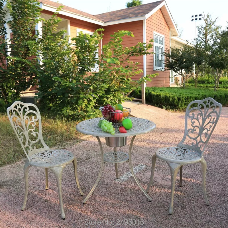 3pcs /set Patio Cast Aluminum Bistro Set Table And 2 Chairs With Ice Bucket Outdoor And Indoor Used All Weather Durable