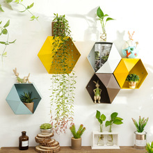 Creative iron Hanging hexagon plant pots shelf Flower Pot Children's Room Wall storage Hanging Flower Vase Home Wall Decoration european swan wall decoration wall decorative wall decoration creative wall hanging vase flower basket living room background wa