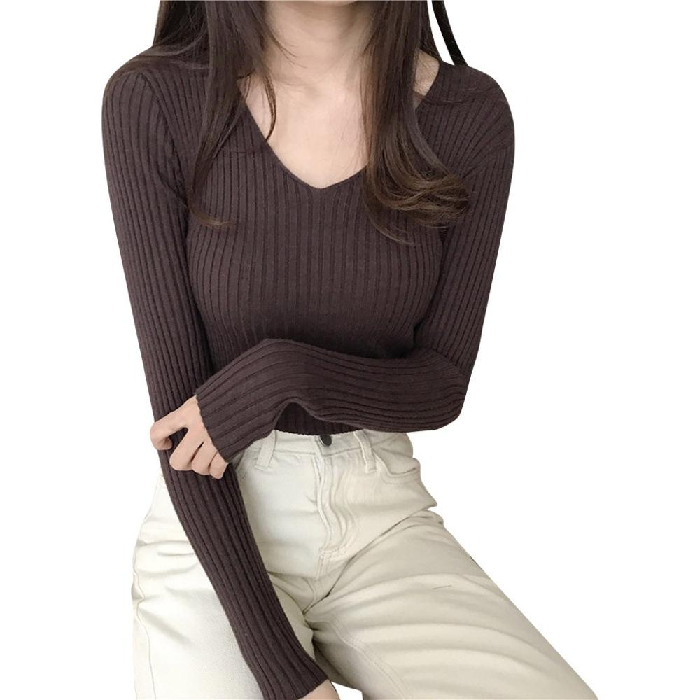 Winter Sweater Retro Women Knitting Pullovers Mori girl Slim Tops V-neck Solid color Mixed Ladies Casual Sweater
