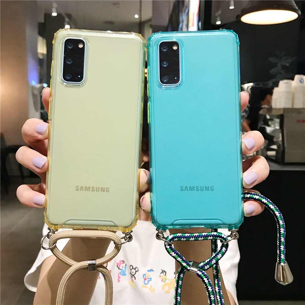 Color Lanyard Necklace Strap Case For Samsung Galaxy S9 S10 S20 Plus Ultra S10E Note 8 9 10 Pro A21 A51 A71 A81 Rope Phone Cover