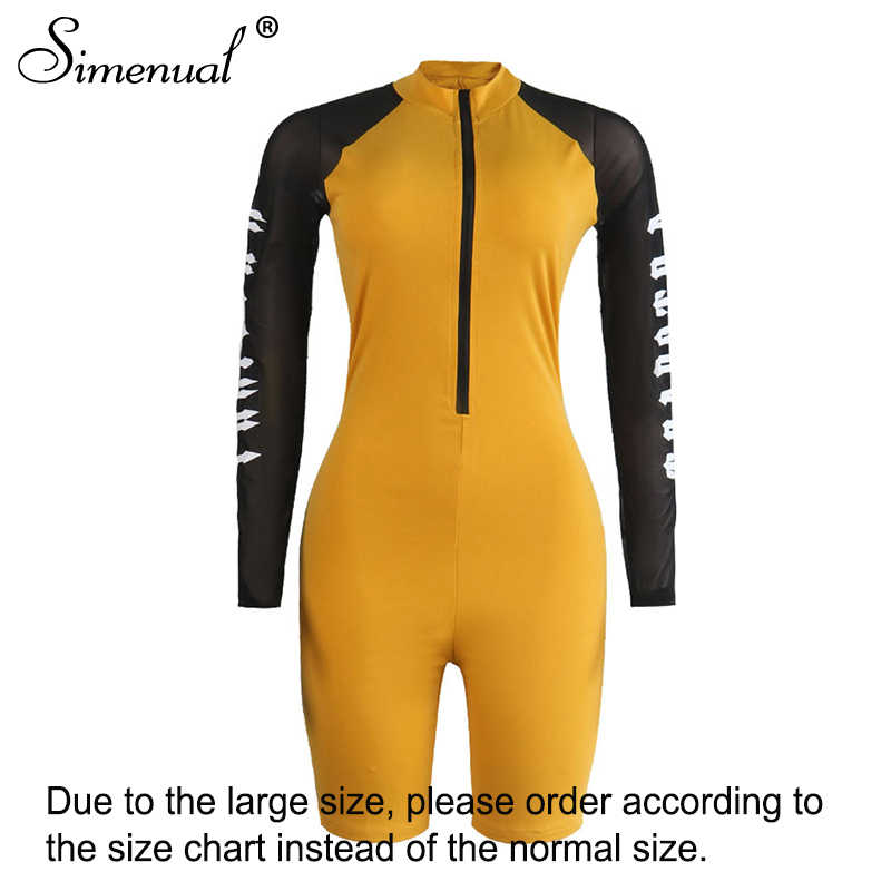 Simenual Mesh Patchwork Fitness Workout Rompers Womens Jumpsuits Letter Print Long Sleeve Zipper Active Wear Biker Playsuits Hot