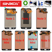 100% g amoled para samsung galaxy note 5 4 3 2 1 display lcd digitador da tela para galaxy note 3 neo nota 4 mini(China)