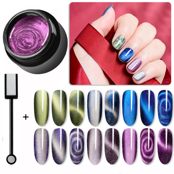 Magnetic 5D Cat Eye UV Gel Nail Polish Magnet Laser Nail Art Varnish Starry Sky Jade Effect Soak Off UV Gel Nail Art Lacquer недорого