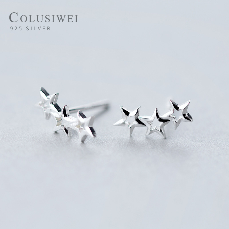Colusiwei Silver 925 Jewelry Simple Minimalist Star Stud Earrings for Girl Anti-allergy Hollow out Jewelry Accessories Gifts