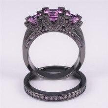 Della signora 925 Argento e Nero Quadrato in oro Rosa Diamante Simulato Pavimentato Tre pietra Fascia di Cerimonia Nuziale Anello Set di Gioielli per Le Donne