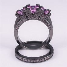 Ladys 925 Silver & Black gold Square Pink Simulated Diamond Paved Three stone Wedding Band Ring Sets Jewelry for Women
