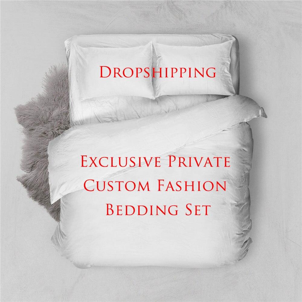 Custom Brand LOGO Edredon Bedding Sets Duvet Cover Home Textile Single King Size Bedding Set Bed Sheets Pillowcases Bed Linen