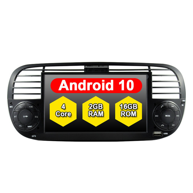 Black Color ANDROID 10.0 Car Radio 2Din FOR FIAT 500 BUILT-IN WIFI MODULE Navigation GPS Video Tape Recorder Bluetooth Head Unit