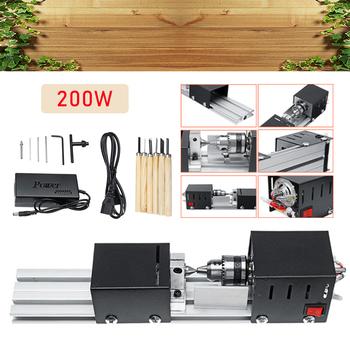 200W DC12-24V Mini tokarka koraliki maszyna stolarka DIY tokarka standardowy zestaw z mocą nóż do rzeźbienia tokarka do drewna + 6 Carving Blade tanie i dobre opinie combiubiu CN (pochodzenie)