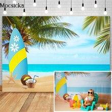 Mocsicka Estate Spiaggia Photography Fondali Tavola Da Surf di Cocco Albero di Decorazione di Compleanno Dei Bambini Studio Fotografico Foto Sfondi
