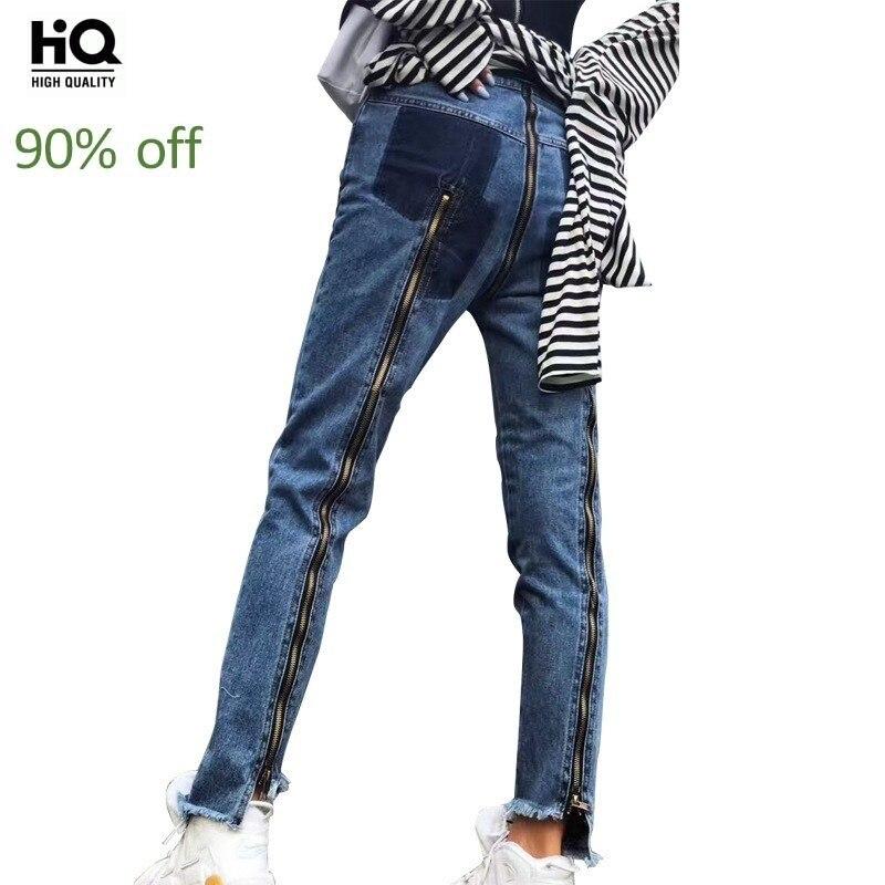 Hip Hop Streetwear New Harajuku Zip Womens Denim Pants Personalized Tide Slacks Punk Handsome Slim Fit Asymmetrical Jeans