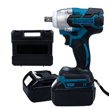 18V Electric Brushless Impact Wrench Cordless 1/2 Socket Wrench Power Tool Rechargeable