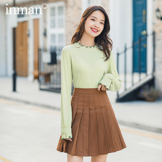 INMAN 2020 Spring New Arrival Literary Preppy Style Age reducing High Waist Pleated Skirt