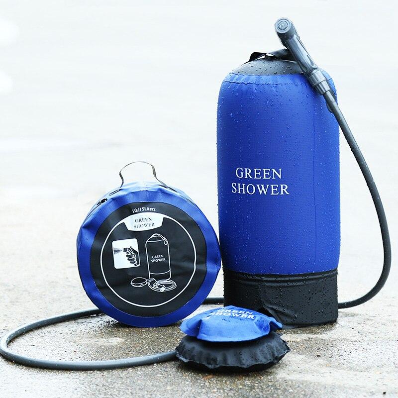 Camping pression douche sac à eau camp douche écologique 10-30L 500D PVC bâche pliante extérieure réservoir à pression portable