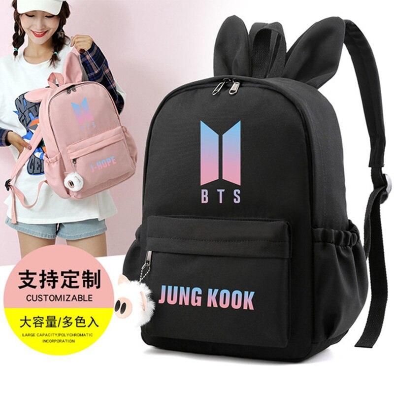 HOT Bangtan Boys Rap Monster JUNG KOOK JIMIN Backpack School Bags Mochila Travel Bags Laptop Chain Backpack Headphone USB Port
