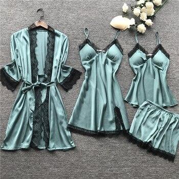 2019 Women Pajamas Sets Satin Sleepwear Silk 4 Pieces Nightwear Pyjama Spaghetti Strap Lace Sleep Lounge Pijama With Chest Pads 1