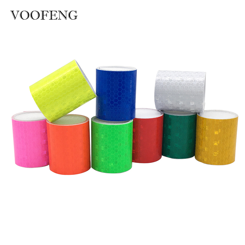 VOOFENG High Visibility Reflective Self-Adhesive Tape Sticker Warming Tape For Car Accident Prevention 5cm*1m