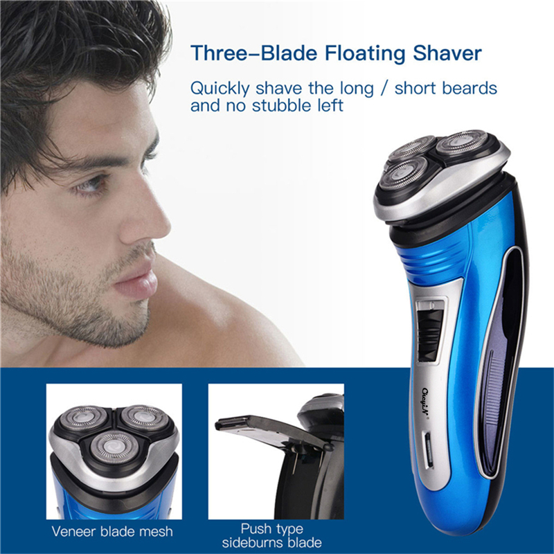 USB Rechargeable Electric Shaver 3D Triple Floating Blade Heads Shaving Razors Face Care Men Beard Trimmer Barber Machine