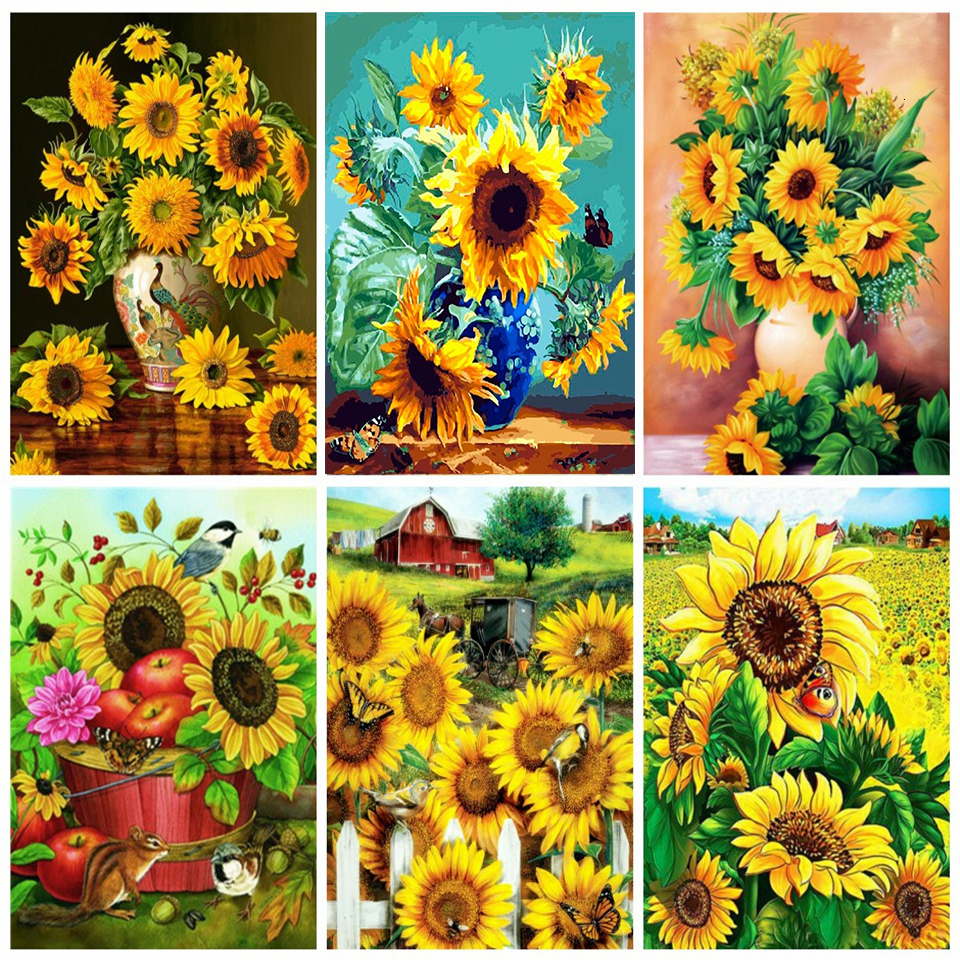 Floral//Flower//Nature Sunflower Close Needlepoint Kit or Canvas