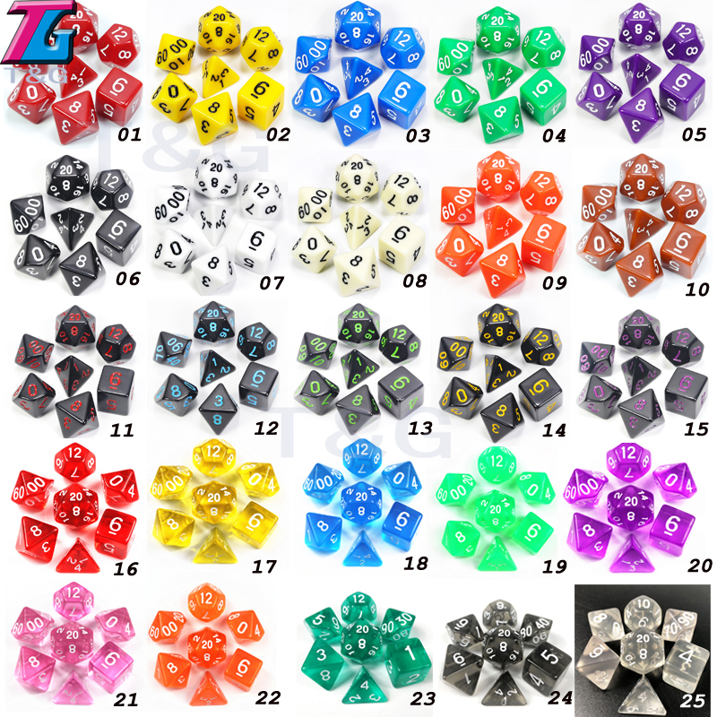 Wholesales 7pc/lot Dice Set D4,D6,D8,D10,D10%,D12,D20 Colorful Accessories For Board Game,DnD, RPG