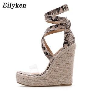 Image 2 - Eilyken sandálias plataforma, serpentina, sapatos de salto alto aberto, casual, com fivela, plus size 35 42