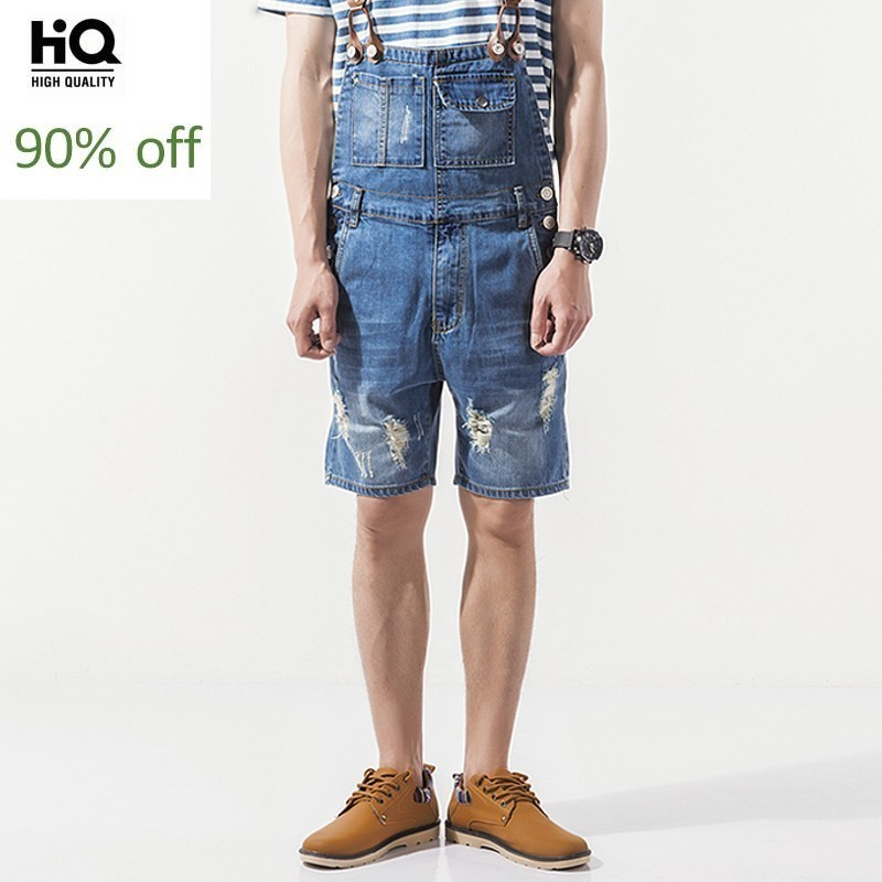 Menswear 2020 Summer Hot Fashion Mens Overalls Casual Distressed Knee Length Jumpsuits Zipper High Street Shorts Denim Pant Man