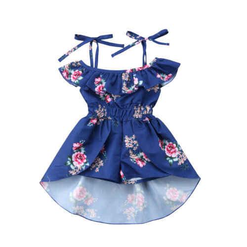 Mới Tập Đi Cho Bé Kid Cho Bé Đầm Bé Gái Xù Áo Cột Dây Đầm Họa Tiết Hoa Thời Trang Trang Phục Bộ Playsuit