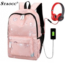 Fashion Space Usb Backpack Canvas Women Laptop Backpack School Bag For Teenage Girls Bookbag Female Travel Bagpack Mochila Black цена 2017