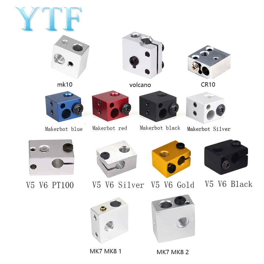 3D Printer Heating Parts Block MK8 MK10 V5V6 Volcano Red Black Blue White For Print Head Extruder J-head Aluminum Block