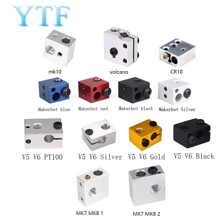>3D printer heating parts Block MK8 MK10 V5V6 Volcano red black <font><b>blue</b></font> <font><b>white</b></font> for <font><b>print</b></font> head extruder J-head aluminum block