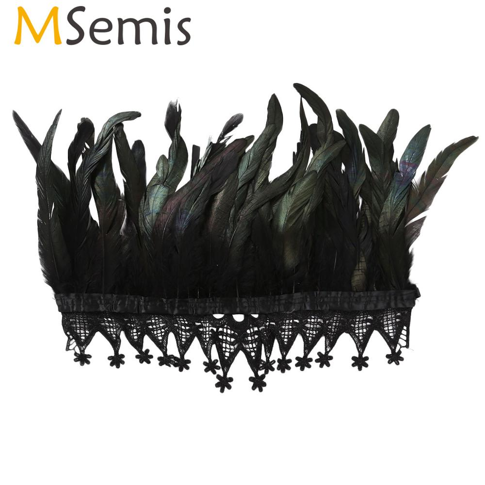 MSemis Women Black Feather Splice Lace Choker Collar Gothic Victorian Feather Cape Stage Performance Cosplay Costume Accessory