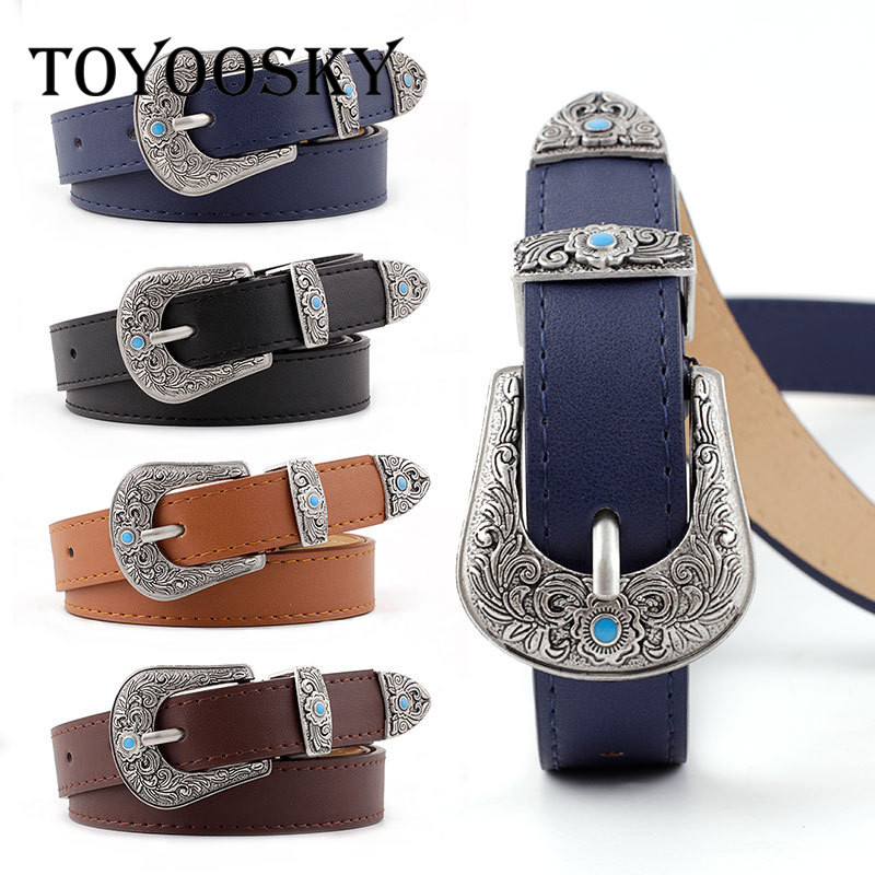 2020 Women Belt PU Cowgirl Waistband Carve Pattern Solid Long Belt for Jeans High Quality Belts for Female cinturones para mujer image