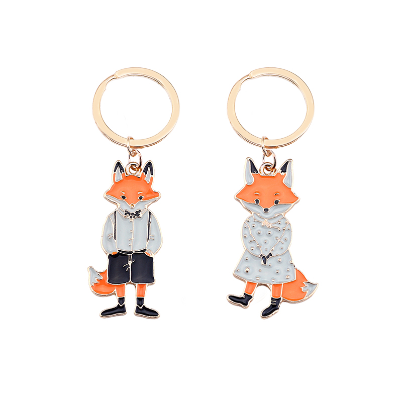 2019 Latest Couple Keychain Animal Fox Shape Pendant Alloy Material Valentine's Day Fashion Cute Jewelry Gift Direct Sales