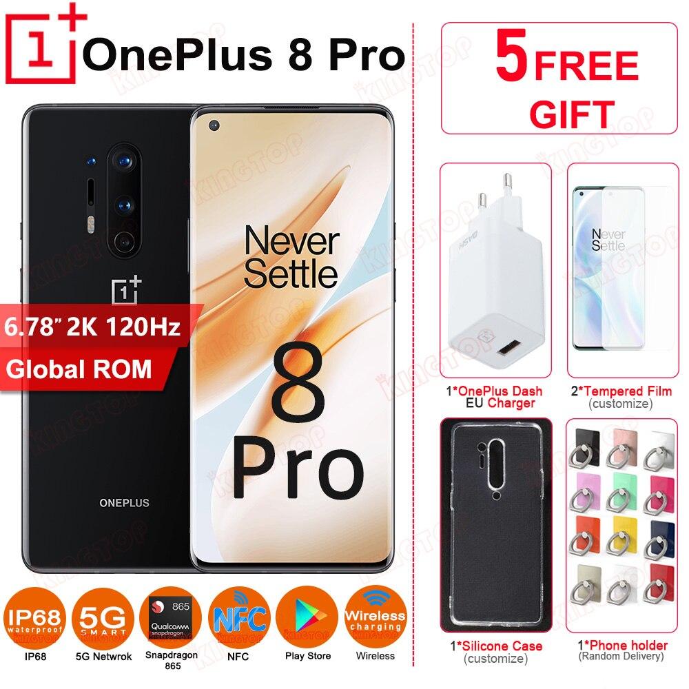 Global ROM Original OnePlus 8 Pro mobile phone 8G RAM 128G ROM Snapdragon 865 2K 120Hz 48MP+48MP NFC 4510mAh 30W 5G cellphone