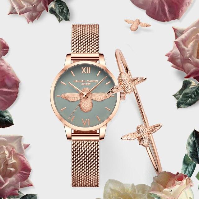 Women Watches Mesh Stainless Steel 3D design dial Japan Quartz Movement Top Brand Female Waterproof Wristwatch Clock Relogio 3