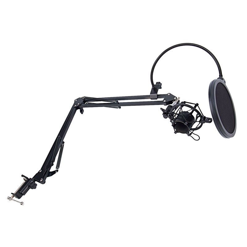 Image 3 - NB 35 Microphone Scissor Arm Stand and Table Mounting Clamp&NW Filter Windscreen Shield & Metal Mount KitMic Stand   - AliExpress